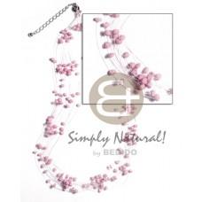 Multi Row Coconut Pokalet Pastel Pink Magic Wire 2-3 mm Coconut Necklace BFJ1499NK