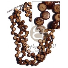 Multi Row Coconut Side Drill Natural Brown Coconut Necklace BFJ1817NK