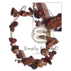 Multi Row Copper Wire Palmwood Bayong Wood Robles Wood Natural Wooden Necklaces BFJ3407NK