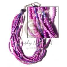 Multi Row Glass Beads Wood Coconut Pokalet Acrylic Crystals Coconut Necklace BFJ529NK