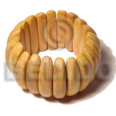 Nangka Wood Coated Elastic Yellow Bangles - Wooden Bangles BFJ022BL