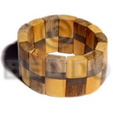 Nangka Wood Graywood Coated Elastic Robles Wood Bangles - Wooden Bangles BFJ019BL
