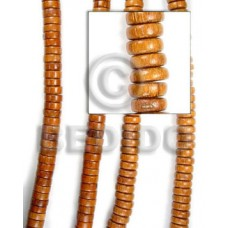 Natural 16 inches Bayong Wood Pokalet 4 x 10 mm Natural Wood Beads - Pokalet Wood Beads BFJ037WB