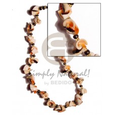 Natural 18 inches Luhuanus Red Everlasting Glass Beads Coconut Natural Shell Necklace BFJ1546NK