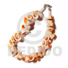 Natural 7.5 inches Luhuanus Red Everlasting Natural Sea Shell Bracelets BFJ673BR