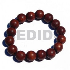 Natural Bayong Wood Round 10 mm Elastic Waxed Wood Bracelets BFJ5317BR