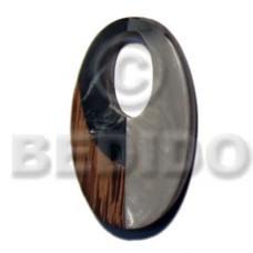 Oval Inlaid Palmwood Resin 55 mm Pendants - Wooden Pendants BFJ5691P
