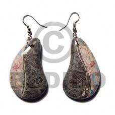 Paisley Wrapped Laminated Resin Printed Wood Earrings BFJ5751ER
