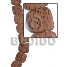 Palmwood Brown Face to Face Flat Square Round Edges 25 mm Wood Beads - Flat Square Wood Beads BFJ485