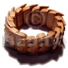 Palmwood Heart Elastic Natural Bangles - Wooden Bangles BFJ050BL