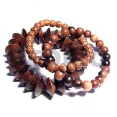 Palmwood Kamagong Wood Elastic Round 8 mm Wood Bracelets BFJ5346BR