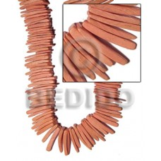 Peach 16 inches Coconut Stick 1.5 inch Dyed Coco Stick Beads BFJ014CSPS