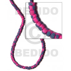 Pink 4-5 mm Coconut Pokalet Painted Coco Pokalet Beads BFJ047SPL