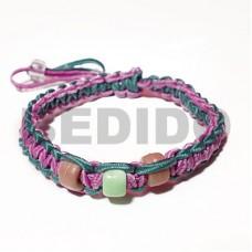 Pink Macrame thread Wood Beads adjustable Macrame Wax Cord Sky Blue BRACELETS - MACRAME BFJ5347BR