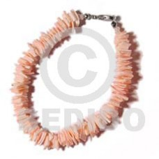 Pink Pink Rose Shell 7.5 inches Square Cut Sea Shell Bracelets BFJ068BR