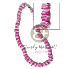 Pink White Rose Puka Shell Square Cut Glass Beads Alternate Puka Shell Necklace BFJ3740NK