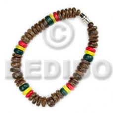 Rasta Coconut Pointed 7-8 mm Coconut Bracelets BFJ5011BR