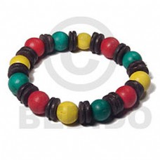 Rasta Green Yellow Red Wood Beads Elastic 7.5 inches Wood Bracelets BFJ5463BR