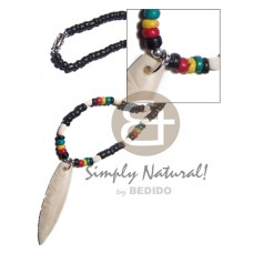 Rasta Wood Rice Bone Surfer Pendant 3-4 mm Unisex Reggae Rastafarian Accessory BFJ3487NK