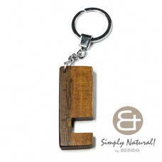 Robles Wood Brown 64 mm x 24 mm x 5 mm Hardwood Chrome Keychain IPHONE ANDROID ACCESSORY BFJ088KC
