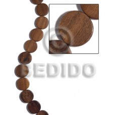 Robles Wood Brown Flat Round/Coin Tablet 20 mm 16 inches Wood Beads - Flat Round and Oval Wood Beads BFJ463WB