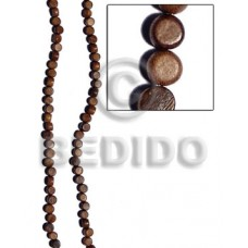 Robles Wood Flat Round/Coin 5 mm Brown 16 inches Wood Beads - Flat Round and Oval Wood Beads BFJ247WB