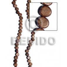 Robles Wood Flat Round/Coin Brown 10 mm 16 inches Wood Beads - Flat Round and Oval Wood Beads BFJ246
