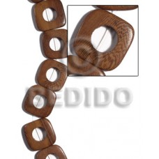 Robles Wood Hardwood Face to Face Round Edges 35 mm Brown Wood Beads - Flat Square Wood Beads BFJ481