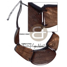 Robles Wood Laminated Golden Brown Capiz Shell Wax Cord 16 inches Wooden Necklaces BFJ3108NK