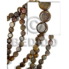 Robles Wood Side Drill Disc 10 mm 16 inches Brown Wood Beads - Flat Round and Oval Wood Beads BFJ064