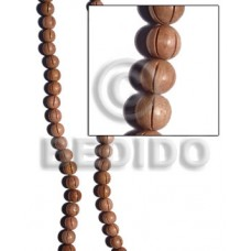 Rosewood 10 mm Groove Natural Round Wood Beads Carved Wood Beads BFJ187WB