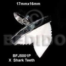 Shark Teeth Natural Natural White Pendants - Bone Horn Pendants BFJ5001P
