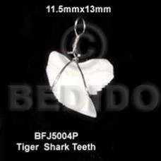 Shark Teeth Natural White Pendants - Bone Horn Pendants BFJ5004P