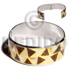Stainless Steel Coconut Mother-Of-Pearl Laminated Crazy Cut 1 inch 65 mm Bangles - Shell Bangles BFJ