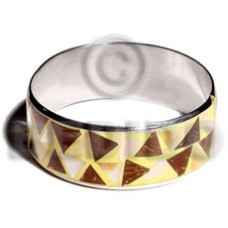 Stainless Steel Coconut Mother-Of-Pearl Laminated Crazy Cut 1 inch 65 mm Inlaid Bangles - Shell Bang