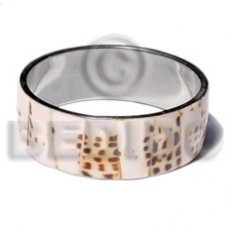 Stainless Steel Conus Shell Laminated 1 inch 65 mm Natural Bangles - Shell Bangles BFJ114BL