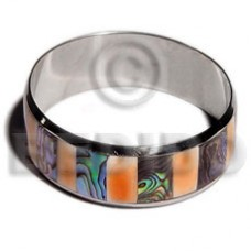 Stainless Steel Paua Abalone Laminated 1 inch 65 mm Luhuanus Red Everlasting iridescent Bangles - Sh