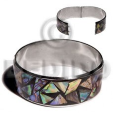 Stainless Steel Paua Abalone Laminated Crazy Cut 1 inch 65 mm iridescent Bangles - Shell Bangles BFJ104BL