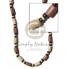 Tan Natural White Wood Beads Tube Coconut Beads Pokalet Dyed 18 inches Wooden Necklaces BFJ111NK