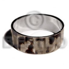 Tiger Brown Lip Shell Inlaid Stainless Metal 1 inch 65 mm Bangles - Shell Bangles BFJ123BL
