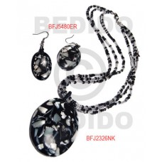 Trocha Shell Black Set Jewelry Earrings Necklace Laminated Set Jewelry BFJ040SJ