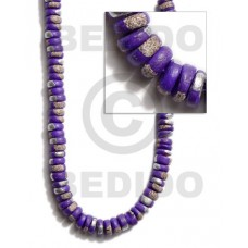 Violet 16 inches Coconut 4-5 mm Pokalet Painted Coco Pokalet Beads BFJ015SPL