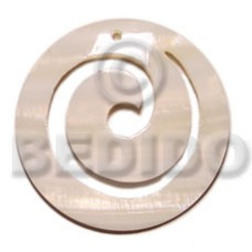 White Kabibe Shell Disc 60 mm Natural Pendants - Shell Pendants BFJ5012P