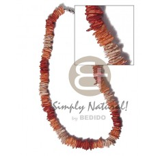 White Rose Brown Dyed 18 inches Puka Shell Necklace BFJ3723NK