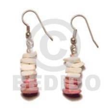 White Rose Dangling White Pink Shell Earrings BFJ286ER