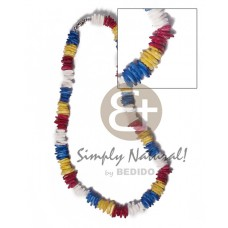 White Rose Dyed 18 inches Yellow Blue Red White Puka Shell Necklace BFJ3717NK
