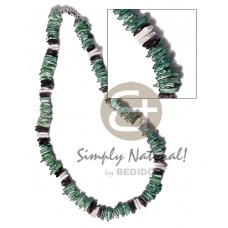 White Rose Green Dyed 18 inches Multi-Color White Black Puka Shell Necklace BFJ3733NK