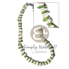 White Rose Green Dyed 18 inches White Puka Shell Necklace BFJ3722NK