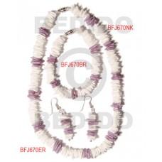 White Rose Lilac Set Jewelry 18 in necklace 7.5 Bracelets Earrings Set Jewelry BFJ026SJ