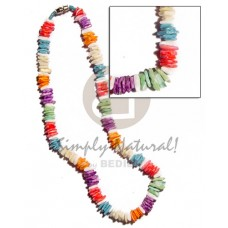White Rose Multi-Color Dyed 18 inches Puka Shell Necklace BFJ1691NK